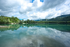 Taillât lake. (CarlaBrito) Tags: summer sky lake france water clouds forest grenoble canon landscape mirror canon5d 1740mm