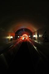 Destination ahead (jumppoint5) Tags: light urban danger colours shadows fear escalator tunnel destination okinawa