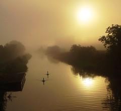 Sun rising in mist (cocopie) Tags: sun mist sunrise canal