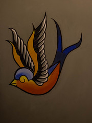 Old Skool swallow. (giuseppe_yello) Tags: blue orange wall tattoo swallow oldskool tatuaggio rondine