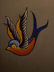 Old Skool swallow. (giuseppe_yello) Tags: blue orange wall tattoo swallow oldskool tatuaggio rondine
