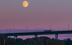 september moon (c.turzak...) Tags: autumn sunset moon color vancouver september lionsgatebridge