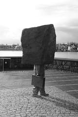work (yolanda.koutraki) Tags: sculpture art rock work iceland reykjavik unknown suitcase burden bureaucrat magns tmasson