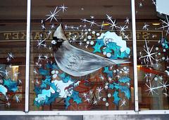 St Lawrence Market Cardinal (.annajane) Tags: christmas winter toronto ontario canada reflection bird window painting cardinal holly urbanart stlawrencemarket