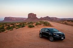 This is no Kia advertising [Explored] (_Franck Michel_) Tags: car desert adverdisement black monument valley red western kia