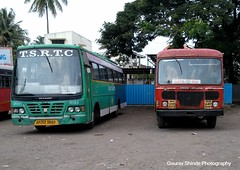 MSRTC and TSRTC Togetherly Resting at Miraj Depot (gouravshinde94) Tags: bus hyderabad ashok leyland ratnagiri miraj msrtc tsrtc