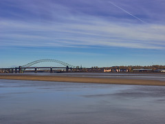 Runcorn Bridge (Maggie's Camera) Tags: bridge blue water river estuary tidal runcorn merseyside runcornbridge november2015