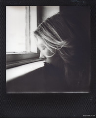 Eye Level (Roj) Tags: blackandwhite bw window monochrome analog polaroid sx70 mono analogue instantphotography filmisnotdead pathwaystudio impossibleproject originalphotographer photographersontumblr sourcerojsmithtumblrcom