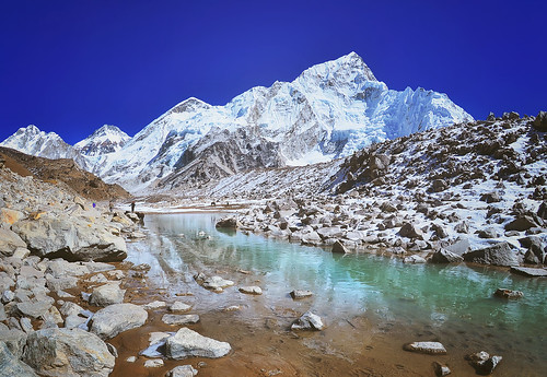 Mount Nuptse view and Mountain landscape view in Sagarmatha National Park, Nepal Himalaya.