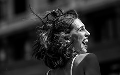 Happiness (hector_cbs) Tags: happiness laugh laughing jump happy light sun blackandwhite monochrome people girl woman whiteandblack