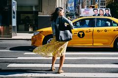 (Cedpics) Tags: nyc street newyork usa fujixpro1 cab taxi wind dress