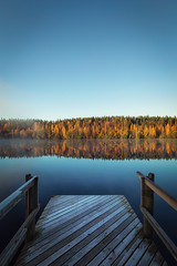 Crispy autumn morning (L.Matero) Tags: canon 6d 1635 f4 is usm autumn crispy morning fog mist lake woods colorful sky calm serene frost reflection water yellow blue finland jyvskyl khni khninjrvi