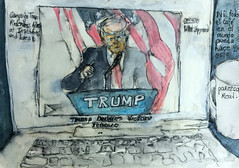 Ni todo el caf en al mundo puede hacer que esta parezca real. 9 de noviembrem 2016. (Sharon Frost) Tags: donaldtrump elections computers coffee currentevents newyorktimes cups newspapers headlines journals sharonfrost daybooks sketchbooks drawings paintings combovers clowns canson