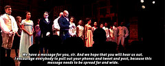 wocinsolidarity: toushindai: janel-moloney: @HamiltonMusical: Tonight, VP-Elect Mike Pence attended #HamiltonBway. After the show, @BrandonVDixon delivered the following statement on behalf of the show. Captions: We have a message for you, sir. And we ho (medievalpoc) Tags: gif gifset hamilton seizure warning america us american politics history today have headache massive