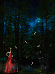 woods (seanfderry-studenna) Tags: woods fantasy night girl cat black red dark dress long roses garland spooky feather key tree tale fairy story outdoor background magic mist halloween