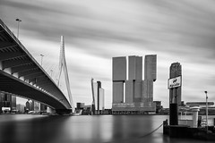Erasmusbrug & De Rotterdam - Rotterdam, The Netherlands (Dutchflavour) Tags: rotterdam derotterdam erasmusbrug maas nieuwemaas blackandwhite bw monochrome cityscape seascape waterfront bridge architecture netherlands holland skyline spido neutraldensity filter rem koolhaas oma kopvanzuid