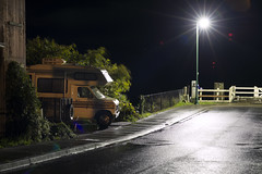 RV (Curtis Gregory Perry) Tags: cathlamet washington rv ford broadway street night wet road light streetlight recreational vehicle truck 80s longexposure nikon d800e shadow columbia river asphalt pavement rainy sidewalk