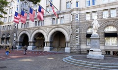 The Old Post Office Building on Pennsylvania Avenue is now the Trump International Hotel.  Thankfully, Ben Franklin remains in place. (lhboudreau) Tags: washingtondc washington dc oldpostofficebuilding oldpostoffice trump donaldtrump thedonald trumpinternationalhotel 2016 pennsylvaniaavenue benfranklin franklin benjaminfranklin statue arch architecture outdoor building trumphotel hotel