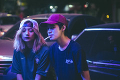 51 (jmarianvilla) Tags: neonlights bright philippines fuentecebu citylights girl boy smoke dark colors art artsy photography streetphotography composition