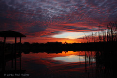 Hole In The Sky (Paul Hueber) Tags: sunrise altamontesprings seminolecounty florida usa november autumn fall unitedstates sky sunset morning water reflection orange red dock cattails canon horizon handheld