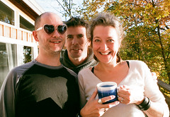 Friendly Morning Trio (Georgie_grrl) Tags: princeedwardcounty cottagechoir friendship music social friends roadtrip pentaxk1000 rikenon12828mm ontario andria paul tom goodmorning coffee java mysunglasses hearts haveagreatday oxo