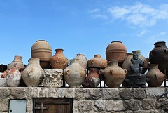 Pottery Collection (Esther Spektor - Thanks for 12+millions views..) Tags: pottery collection ilanagoormuseum israel telaviv jaffa wall sky sculpture stone clay display estherspektor canon vase vessel pitcher