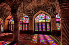Nasir ol Molk Mosque - Shiraz, Iran (Andr Schnherr) Tags: 40d visionhunter iran shiraz mosque moschee pink gebude building colour farbe hdr highdynamicrange light farblicht