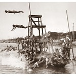 JUMPING, FLYING, LEAPING and PLANKING -- JAPANESE MEN AND BOYS LAUNCH THEMSELVES INTO THE AIR FROM A
