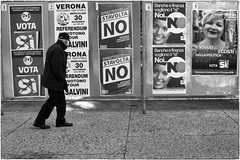 Referendum costituzionale (Roberto Spagnoli) Tags: referendum votazioni voting biancoenero blackandwhite fotografiadistrada streetphotography people fotogiornalismo photojournalism attualit actuality pubblicit manifesto poster