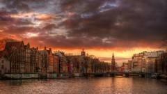 Amstel Sunset (Skylark92) Tags: nederland netherlands holland noordholland amsterdam centre centrum water canal boat boot amstel halvemaansbrug munt toren tower de leurope hdr