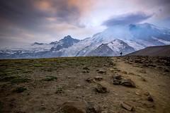 Lonely Mountain (writing with light 2422 (Not Pro)) Tags: sunrise landscape hiking mountrainier mountrainiernationalpark washingtonstate smokeyhaze sigma1020mmlens lonelymountain sonya77 richborder firstburroughspeak
