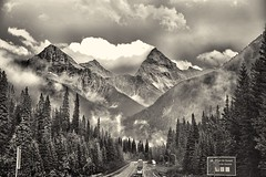 Driving Back Saturday (John Andersen (JPAndersen images)) Tags: blackandwhite rogerspass mountsirdonald