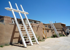 Ladders that lead to upper story kiva entrances