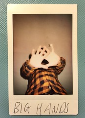Instax: Big Hands (WatermelonHenry) Tags: orange black shirt big hands fuji instant fujifilm neo 90 instax instantphotography upshot checked instantfilm instantprint mini8 neo90 instaxfujifilm mini80 originalfilter neo70