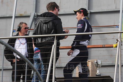 Champion Will Palmer is interviewed after BRDC F4 Race 3 at Donington Park, September 2015