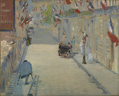 The Rue Mosnier with Flags (Grandiloquences) Tags: paris 19thcentury flags cobblestones streetscenes streetscapes manet frenchflag 1870s tricolore frenchart 1878 hansomcabs frenchartists frenchimpressionism frenchimpressionists frenchpainters douardmanet ruemosnier