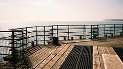 Safety First (jcbkk1956) Tags: sea contrejoure contrejour agfa nikon autofocus analog 35mm film barrier fence decking pier kent deal worldtrekker