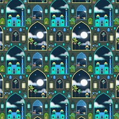 Full_Moon_Pattern_Preview (vannina_sf) Tags: city cloud moon lamp night cat design persian pattern mosaic palace fullmoon textile fabric nights lantern arabian aladdin onethousandandonenights milleetunenuits spoonflower