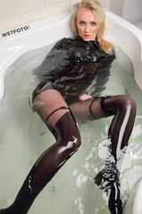 Blonde in wet jeans outfit in the bathroom (Wetlook with WetFoto.com) Tags: black water smile swim bathroom shower shoes tights clothes jeans jacket getwet bluejeans bodysuit pantyhose wetlook skinnyjeans wetjeans getsoaked wetfoto wetblacktights