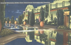 Court of Reflections - 1939 Golden Gate International Exposition - San Francisco, California (The Cardboard America Archives) Tags: sanfrancisco california vintage linen postcard artdeco 1939 worldsfair