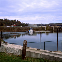 Blue and white towboat (rpantaleo) Tags: film unitedstates pennsylvania fujifilm fujichrome barge towboat monongahelariver monessen monvalley
