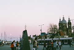 (Tori Taylor) Tags: amsterdam centraal station sunset film camera canon t50 35mm colour manual city europe moon pink summer nostalgic 2016 july tram holland nord netherlands