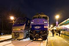 AMT 1326 & AMT 1343 (Michael Berry Railfan) Tags: amt agencemtropolitainedetransport emd gmd f59phi passengertrain train commutertrain montreal quebec winter snow amt1326 amt1343 f59ph lucienlallierstation westmountsub nightshot amt25 amt93