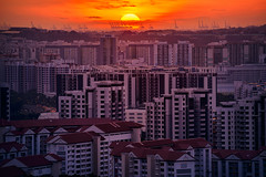 Endeavour (Scintt) Tags: singapore sunset architecture landscape sky sun clouds light glow epic surreal telephoto jurong west east orange warm golden evening day zoom apartments housing estate cityscape skyline structure buildings vantage point scintillation scintt jon chiang photography hdb homes