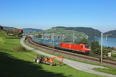 185 096, Immensee, 30 Sept 2016 (Mr Joseph Bloggs) Tags: bahn traxx db 185 185096 gotthard gottardo immensee freight limburg cargo chiasso merci 45077 train treno sbb 096
