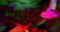 Red queen (Bamboo Barnes - Artist.Com) Tags: haveitneox secondlife installation surreal baroquedreams building woman sky port ship water reflection tower red pink green black yellow vivid digitalart virtualart photo painting light shadow bamboobarnes kultivatemagazine