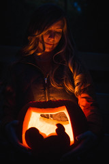 Lori's Announcement (This_is_JEPhotography) Tags: baby pregnant announcement fall orange light dark cute bokeh focus lgith sony slt a77 portrait friend maternity carving candle