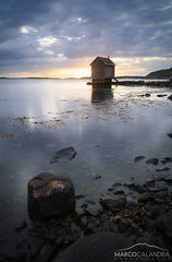 Lonely cabin (Marco Calandra Photography) Tags: sweden brottkrr cabin house longexposure sea stone gteborg vstragtalandsln svezia se goteborg gteborg gothenburg coast tranquil sun sunset sunray peace alone quiet