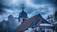 Somewhere a castle (Jean McLane) Tags: castle darksky cloudy clouds nuages nubes france landscape paysage paisaje