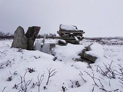 The shovel (GeirB,) Tags: outdoor snow snø arctic varanger vadso vadsø finnmark norway 70north northern spade shovel varde cairn moor varangerpeninsula stones lyng cold frosty abandoned